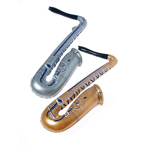 US Toy One Assorted Inflatable Saxophone, Gold/Silver