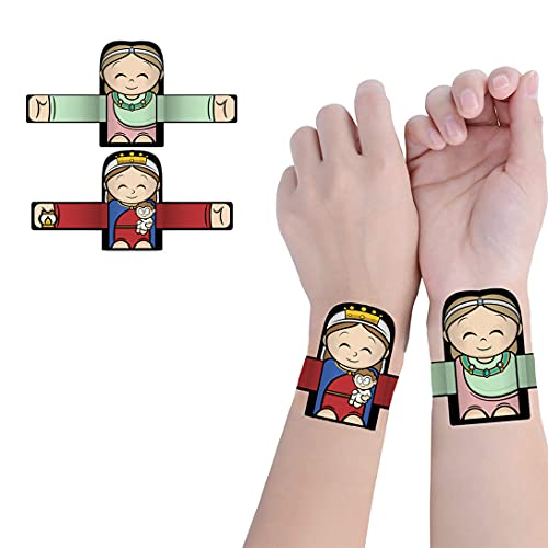 YISD 2Pcs Hugging Angel Slap Bracelets, Hugging Angel Snap Hand Ring Bands Toys, Cute Cartoon Angel Clap Hand Ring,Hugging Angel Patterns Decorative Wristband Bracelet for Kids Adults Gift