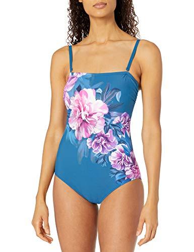 Gottex Women's Standard Bandeau One Piece Swimsuit, Fiji Navy Pink, 12