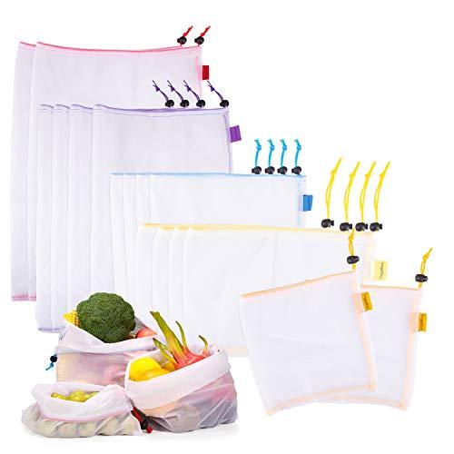 OrgaWise Reutilizable Producir Bolsas 16 Pcs Bolsas Reutilizables Fruta Lavables y Livianas, Comestibles, Compras, Almacenamiento, Frutas, Verduras (16 PCS)