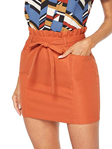 SheIn Women's Casual High Waist Zipper Back A-line Mini Short Skirt (Medium, Orange)
