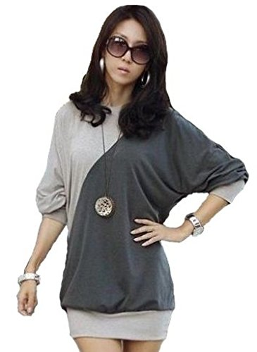Mississhop Ester Japan Style Damen Bluse Longshirt Tunika mit ¾ ÄRMELN Hellmelange-Graphit XL