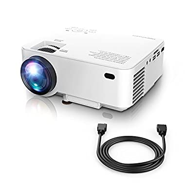 DBPOWER Mini Projector (PREAD Lamp Solution), 50% Brighter Full HD LED Movie Projector with 176  Display, 2018 Custimized for Home Theater, Compatible with Smartphone,1080p/HDMI/Supported