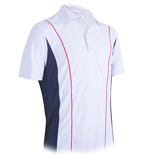 Monterey Club Men's Pike Colorblock Polo Shirt #1192 (White/Navy/Red, X-Large)