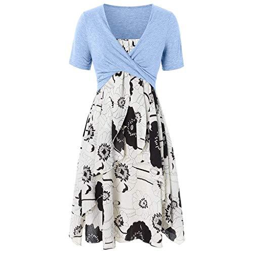 Vimoli Kleider Damen Elegant Kurzarm Bogen Knoten Verband Tops Blumendruck A-Linie Kleid Boho Knielang Kleid (A Hellblau,De-36/CN-S)