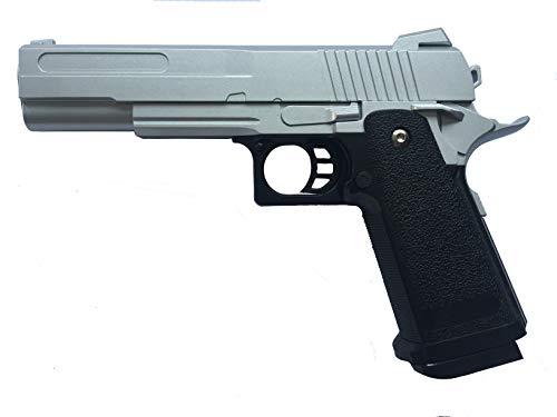Pistola Airsoft Full Metal Rayline RV19 Silver (presión de Resorte Manual), réplica en una Escala de 1: 1, Longitud: 23 cm, Peso: 530 g (Menos de 0,5 Julios - a Partir de 14 años)