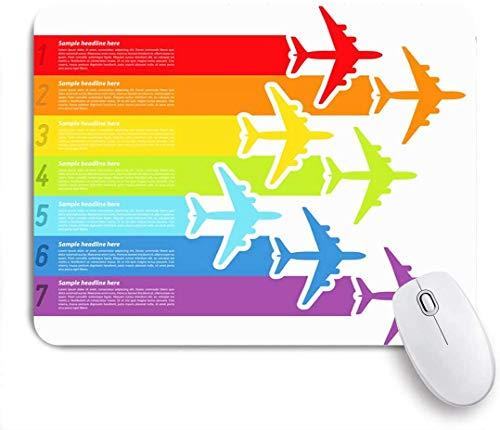 Gaming Mouse Pad Rutschfeste Gummibasis, Reise Trip Fly Regenbogenflugzeuge Flug Kommerzielle Fluggesellschaft Luftfahrt Flugzeug Linie Flugzeug Grafikflügel, für Computer Laptop Schreibtisch