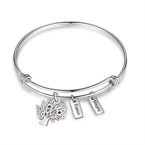 Personalised family tree bracelets for women silver personalised engraved bangle family bracelet with 2~7 names bar gifts for womens mum (2 name bar)