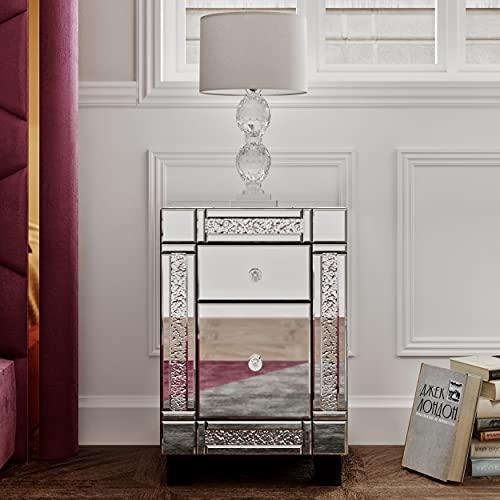 Panana Nachtschrank Glas Kommode MDF Nachttisch mit Kristall Nachtkommode Kommode Schrank - 2 Schubladen 56.5 x 35 x 38 cm für Schlafzimmer Wohnzimmer