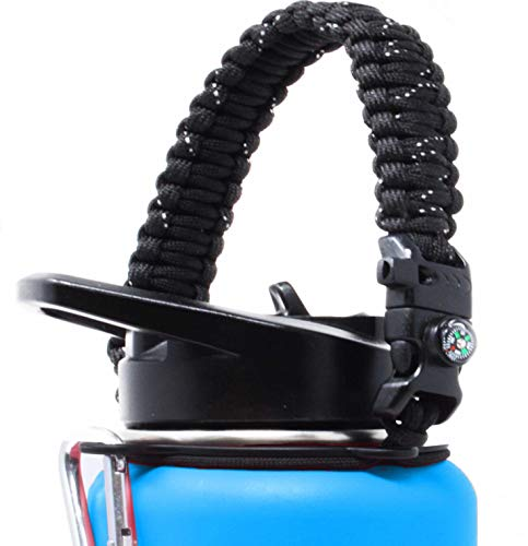 F-32 Handle for Wide Mouth Hydro Flask Water Bottles - Paracord Carrier Survival Strap Cord w/Compass, Safety Ring/Carabiner - Fits Any Wide Mouth Bottle Brand 12oz-64oz (Midnight Black)