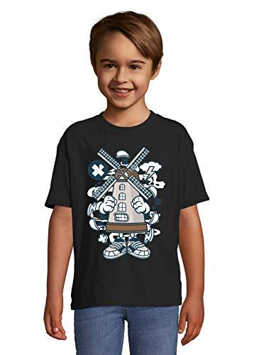 Cartoon Stijl Windmolen Boerderij Meel Brood Kid's Crew Neck T-Shirt