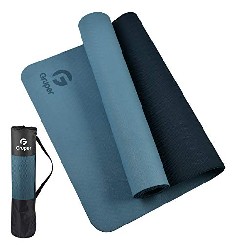 Gruper Yoga Mat, 0.2 inch (6 mm), Exercise Mat, Fitness Training Mat, Thermoplastic Elastomer (TPE) Flooring Protection Material, Lightweight, Durable, Skin Friendly, Double-sided Anti-slip Prevention, For Indoor Workouts, Pilates Mat, Easy Carrying, Easy Storage