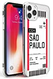 Case Warehouse embarque Personalizada Bono de Entrada: Sao Paulo Slim Funda para iPhone 11 Pro MAX TPU Protector Ligero Phone Protectora con Personalizado Viajero