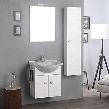 Arredo Bagno Sospeso Mobile Specchio E Colonna Quercia Bianco Facile Amazon It Casa E Cucina
