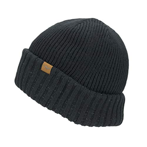 SealSkinz Beanie Waterproof Cold Weather Roll Cuff Beanie, Black, XXL, 13100033000150