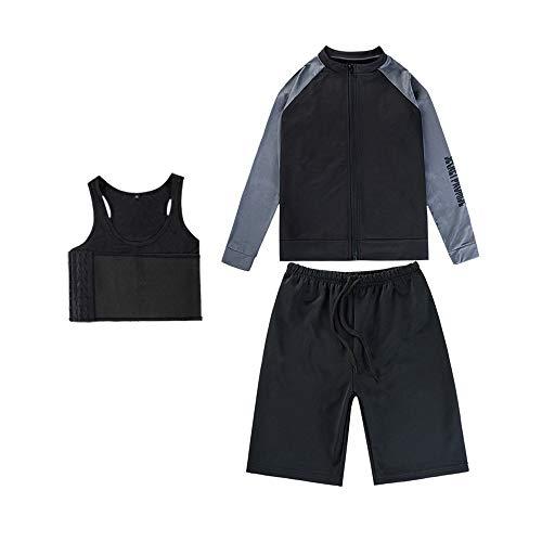MISWSU Chest Binder Quick-Drying Swimwear Zip Up Long Sleeve T-Shirt +Swimming Shorts for Trans Lesbian Tomboy(Black-Gray,2XL)