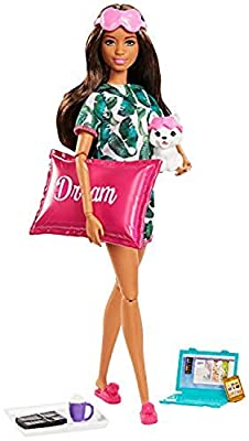 ?Barbie Relaxation Doll, Brunette, with Puppy and 8 Accessories, Including Pillow, Journal and Sleep Masks, Gift for Kids 3 to 7 Years Old