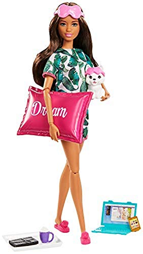 Barbie Relaxation Doll, Brunette, with Puppy and 8 Accessories, Including Pillow, Journal and Sleep Masks, Gift for Kids 3 to 7 Years Old
