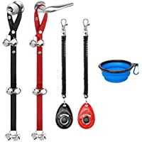 2-Pack Kytely Adjustable Dog Doorbell with 2 Dog Training Clickers and One Collapsible Bowl