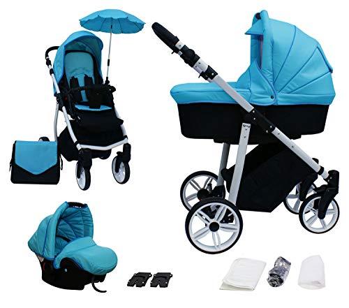 Skyline 3in1 Kombi Kinderwagen mit einem Aluminium Gestell, Babywanne, Sport Buggyaufsatz und Babyschale (ISOFIX) (Blau)