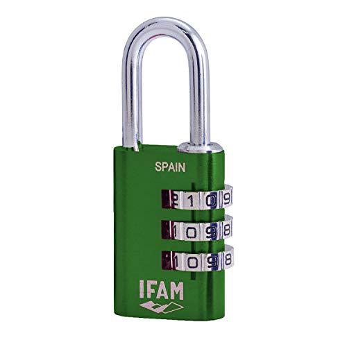 IFAM Col Combi20 (000612V) – Candado de combinación, 20 mm, color verde, 3 rodillos (1.000 combinaciones), cuerpo aluminio, arco diámetro 3mm, candado para maleta, viaje, gimnasio, taquilla, colegio