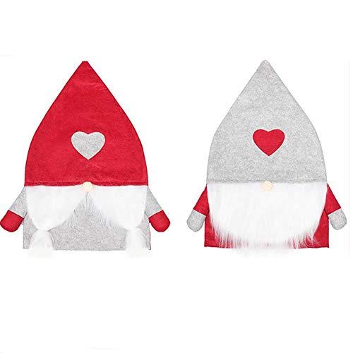 SETSCZY 2Pcs Fundas para sillas de Navidad, Santa Hat Fundas de Respaldo de Silla con 2 Calcetines de Navidad Fundas para Sillas de Cocinapara Decoración Festiva Navideña Decoraciones de Navidad