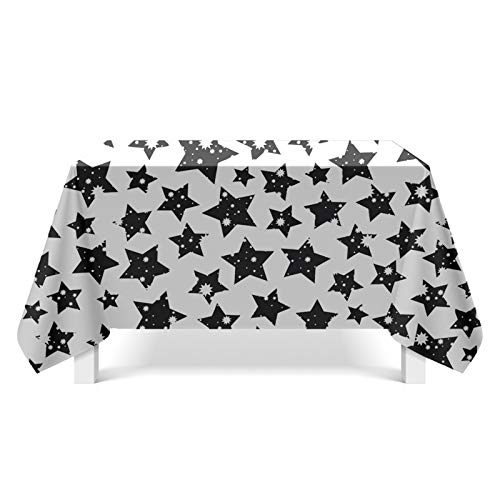Beydodo Mantel Mesa Poliéster Mantel Mesa Rectangular Grande Estrellas Blanco Negro Estilo 3 Mantel Mesa 90x140CM