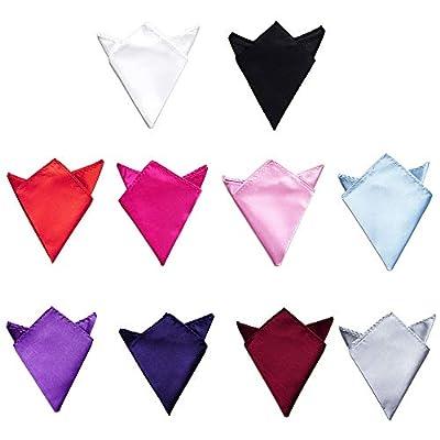 TopTie Wholesale Mens Solid Color Pocket Squares Wedding Handkerchiefs, 10 PCS-set2