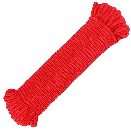 FANGYUAN 90 ft φ 1/4 inch (7mm) Nylon Poly Rope Cord Flag Pole Polypropylene Clothes Line Camping Utility Good for Tie Pull Swing Climb Knot (Red)
