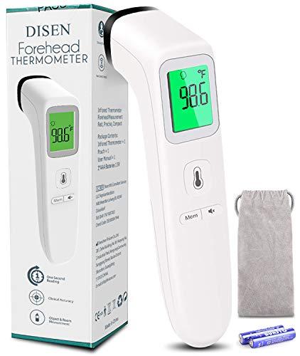 DISEN Termómetro de frente infrarrojo sin contacto, Termómetro sin contacto para adultos niños y bebés