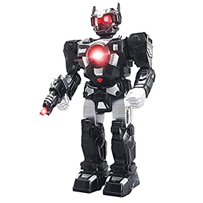 YARMOSHI Walking Robot - Toy with Toy Gun and Firing Sounds. Battery Operated, Has Moving Arms and Flashing Lights. Makes Battle Sounds and Talks. Fun Gift for Girls and Boys Age 2+.