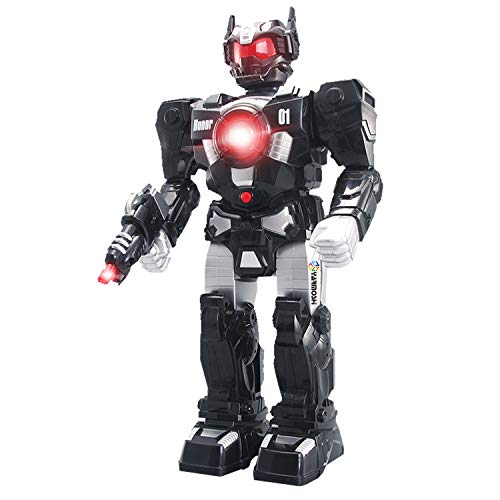 YARMOSHI Walking Robot Toy with Gun and Firing Sounds. Battery Operated, Moving Arms and Flashing Lights. Makes Battle Sounds and Talks. Fun Gift for Girls and Boys. Age 2+ (Black)