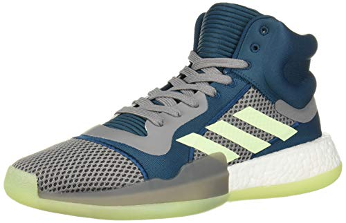 adidas Men's Marquee Boost Low Basketball Shoe, Tech Mineral/Glow Green/Grey, 11 M US