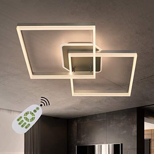 ZMH Lámpara de techo LED, regulable, moderna, para salón, 76 W, 91 cm de longitud, cuadrada, para dormitorio, cocina, con mando a distancia, iluminación interior de techo, oficina, pasillo