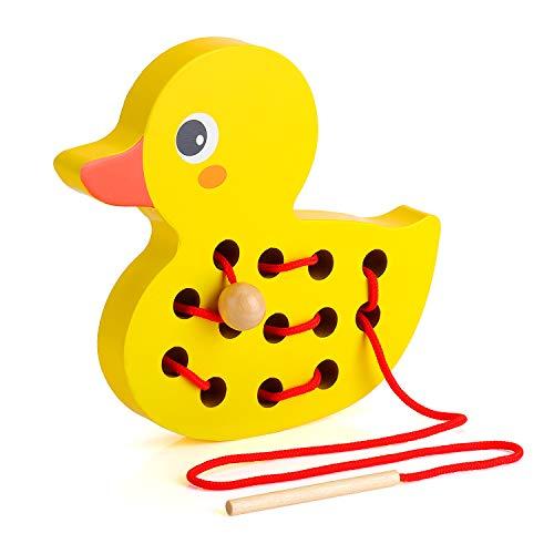 EKKONG Fädelspiel Holz, Einfädeln Spielzeug Motorikspielzeug, Frühes Lernen Pädagogisches Holzblock Puzzles Geschenk für 1 2 3 Jahre Kleinkinder Kinder Baby (Ente )