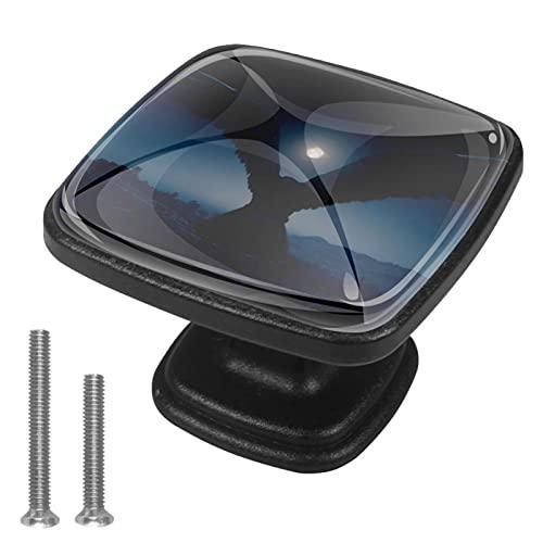 Pomos de gaveta de oro para cajón con mango de cristal para gabinete con tornillos para gabinete, hogar, oficina, armario (4 piezas)