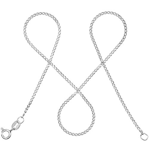 modabilé Cadena de bordillo para damas de plata de ley 925 (1,3mm) SINCERE Collar 65cm: Cadena fina de plata sin colgante + Estuche de regalo I Hecho en Europa