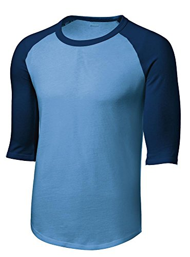 Mens or Youth 3/4 Sleeve 100% Cotton Baseball Tee Shirts Youth S to Adult 4X CB/NVY-S