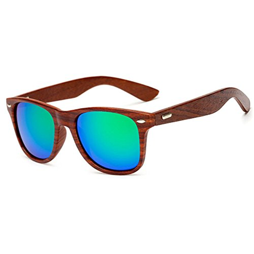 LongKeeper Wood Sunglasses for Men Women Vintage Real Wooden Arms Glasses (Brown, Green)