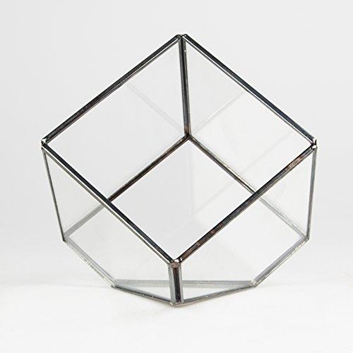 Zinc & Glass Cube Shaped Terrarium Candle Holder Lantern Glasshouse Mini Planter