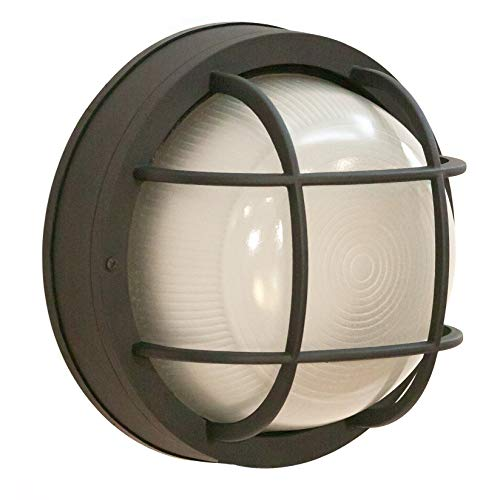"CORAMDEO Outdoor 10"" Round LED Bulkhead Light, Flush Mount for Wall or Ceiling, Wet Location, 125W (1250 lumens) of Light from 13W of Power, 3K, Black Cast Aluminum with Frosted Glass Lens"