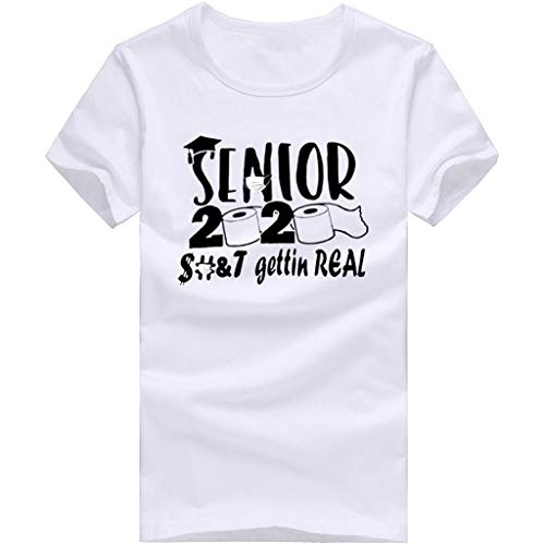 FORUU Funny T Shirts with Sayings for Men Women Sale Senior 2020 Gettin Real Letter Print Unisex Cute Graphic Tees Loose Plus Size Shirts Paper Towel Print Crewneck Tops Under 5 Best Gift White