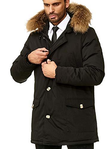 Husaria Designer Daunenjacke Mantel mit Kapuze und echtem Fell sehr hochwertig XXL Fell Parka 7101-4 (L, Schwarz)