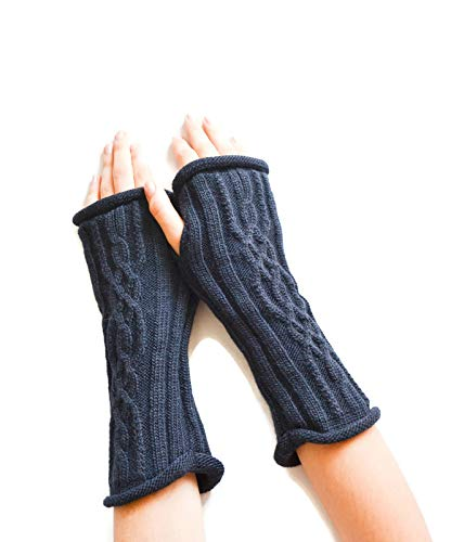 Navy blue fingerless gloves Navy blue knitted gloves Hand knit winter gloves Texting gloves Sustainable gifts Christmas gift for woman