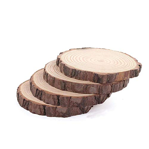 Large Wood Slices for Crafts, Wood Centerpieces for Tables Wood Slabs 7 to 8 Inches 4pcs, Rustic Tree Bark Slice, Weathered Log Disc, Outdoor Country Barn Wedding Table Centerpiece