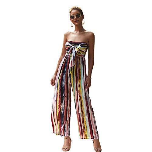iSunday Vrouwen Dame Drukken Mouwloos Streep Jumpsuit voor Zomer Strand Feestdagen