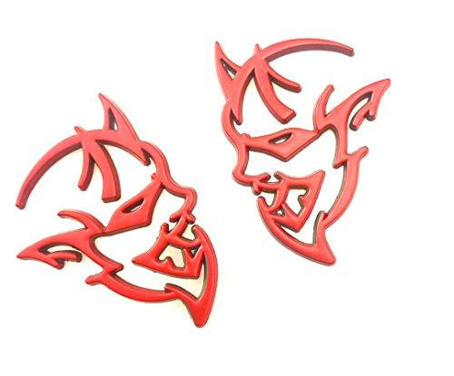 2 emblemi Demon Challenger per carrozzeria auto, stemma laterale posteriore, compatibile con logo Dodge Charger (rosso)