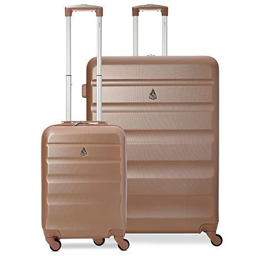 Aerolite Super Lightweight 2 Piece ABS Hard Shell Travel Suitcase Luggage Set with 4 Wheels (Cabin + Large, Rose Gold)