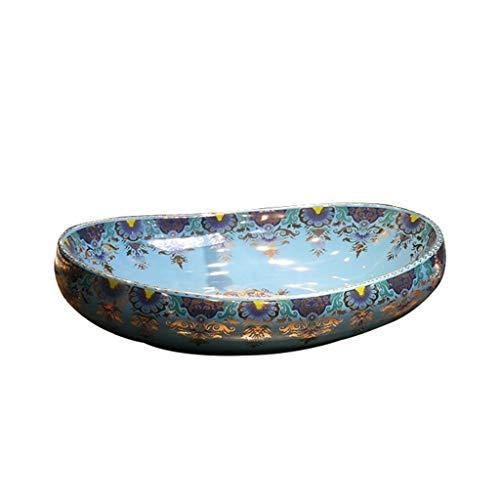 HEMFV Tocador de Lavabo de baño por Encima de la Forma del Huevo Moderna Contador Porcelana baño de cerámica del Recipiente de la vanidad Lavabo del Arte del Fregadero (Color : Style A)
