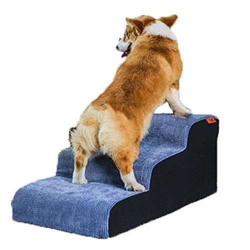 lqgpsx Escaleras de Pana de 3 escalones para Mascotas para Gatos/Perros, rampa de Escalera Antideslizante para Mascotas pequeñas y Medianas, Azul - Soporte 75 kg
